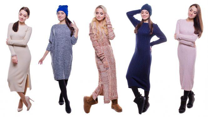 купить теплое вязаное платье